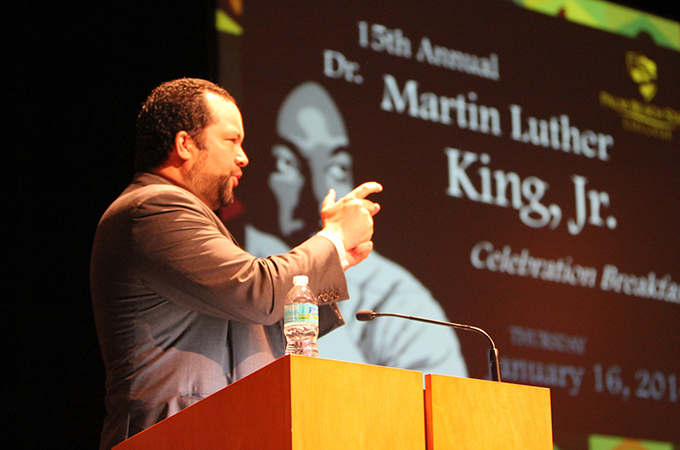 Ben Jealous, former NAACP president, speaks at the 15th Annual Dr. Martin Luther King, Jr. Celebration College at Palm Beach State Jan. 16.