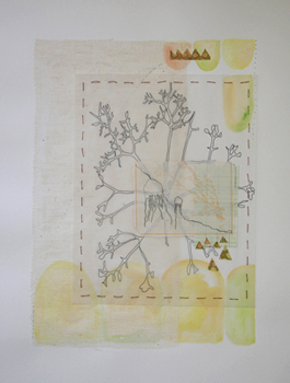 """Family Tree"" by Professor Kristin Miller Hopkins, mixed media, 20"" x 30""."