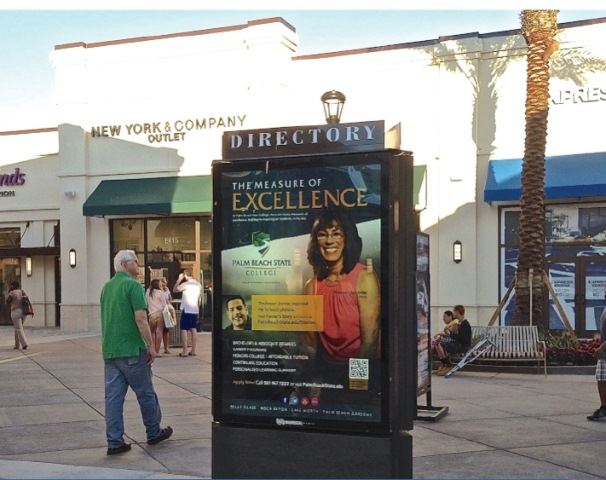 Palm Beach State College's award-winning campaign includes outdoor advertising at the new Palm Beach Outlets mall in West Palm Beach.