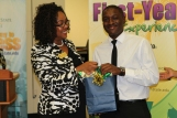 Xavier Campbell, right, a 2014 Summer Quest participant, was the keynote speaker.